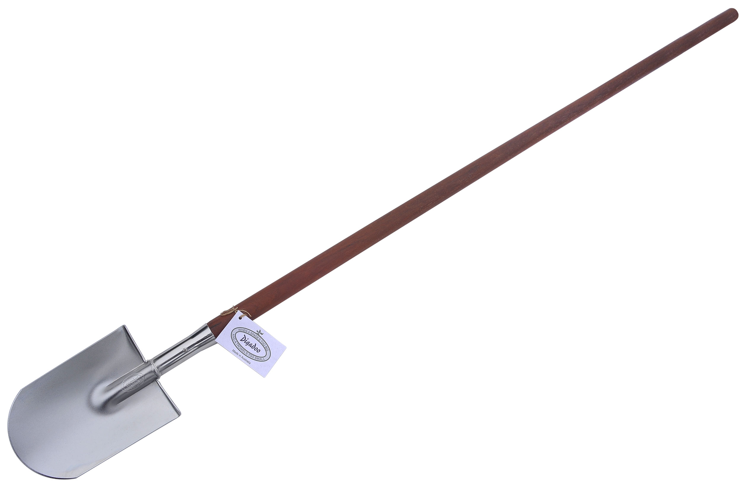 Full length post hole shovel round blade digadoo for Lightweight garden tools